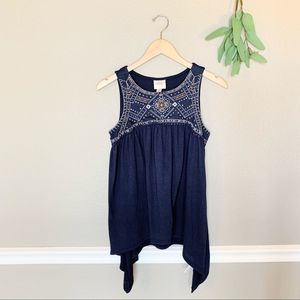 KNOX ROSE Blue Boho Embroidered Sharkbite Tank S